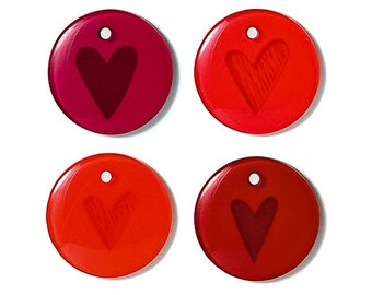 8 - Doodlebug Red Heart Charms - Scrapbooks Stitchery Gift wrapping Favors Decoration Card making