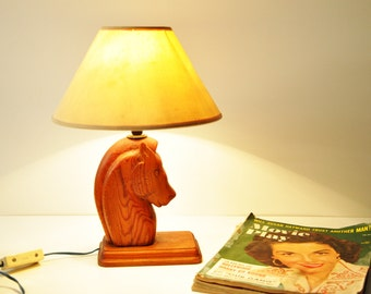 Vintage Wooden Horse Head Bedside -Table Lamp