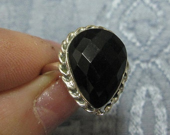 Faceted Black Onyx Sterling Ring Size 9 Minus