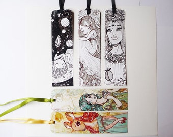 Planet girls and Dames - paper bookmarks