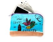 Flying Bird Collage Art, Small Zipper POUCH - Hand Painted Love Birds, Original Mixed Media Artwork, Wallet Credit Card Holder sm216