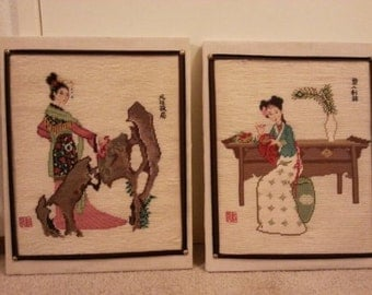 Two Asian Style Wall Art Pictures - Cross Stitched - Sold as a Set