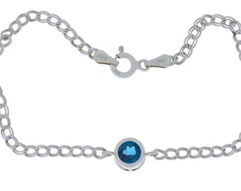 1 Ct London Blue Topaz Round Bezel Bracelet .925 Sterling Silver Rhodium Finish