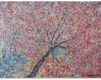 """Original Abstract Landscape Encaustic and Oil Painting  """"Under the Cherry Tree""""  Blooming pinks and pale yellow springtime colors!"""