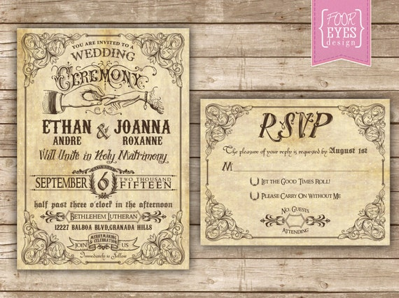 Vaudeville Wedding Collection - DIY Printable File (Invitation and RSVP)