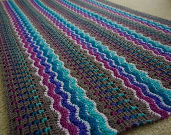 PDF CROCHET PATTERN - Whispering Waves Afghan - Throw and Baby Blanket Sizes - Instant Download