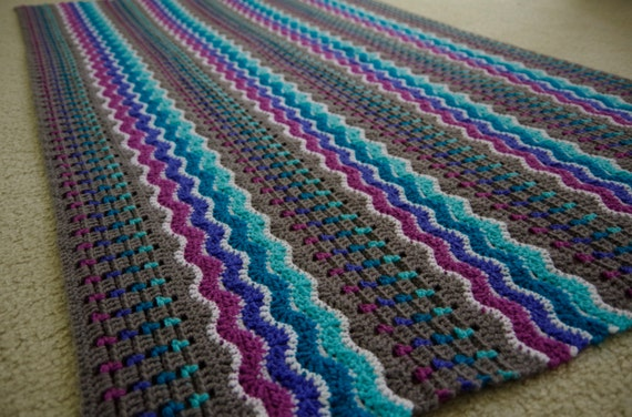 Crochet Patterns Wave Afghan : PDF CROCHET PATTERN - Whispering Waves Afghan - Throw and Baby Blanket ...