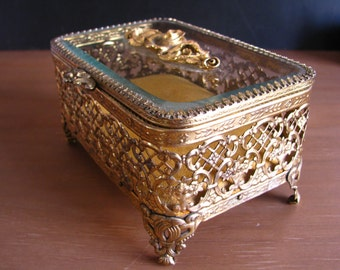 Matson Gold Filigree Footed Jewelry Box with Mustard Yellow Velvet Style  Cushion Inside