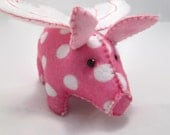 Pig - Flying - Pink/White  Polka Dots