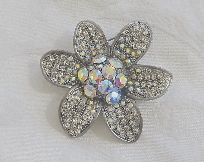 Rhinestone Daisy Brooch, Flower Pin, Vintage Aurora Borealis, Sparkling Stones, Wedding Bride Purse