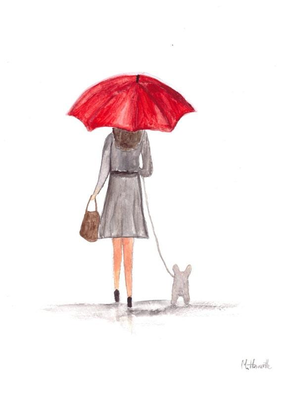 Girl with red umbrella original watercolor painting red for Painting red umbrella
