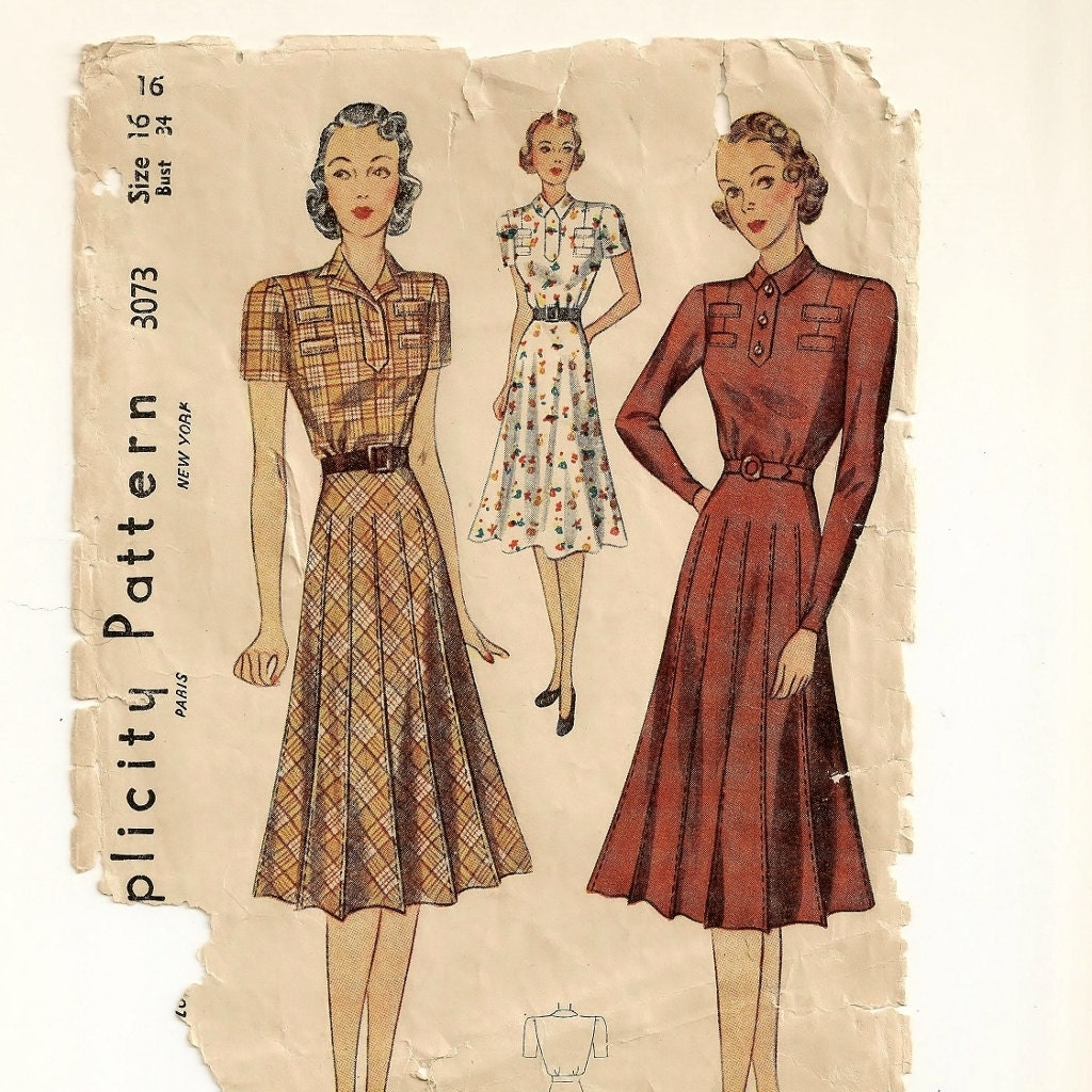 a 1930 dress pattern with flared or stitch pleated skirt