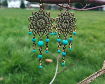 Antique Copper and Turquoise Chandelier Earrings