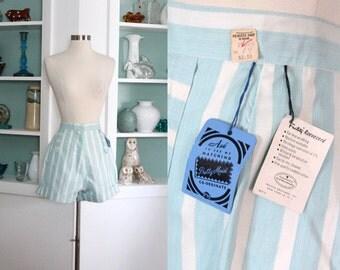 1950s Shorts / Vintage 50s NOS Light Baby Blue White Striped Cotton Twill Pin Up Bombshell High Waist Shorts / Gidget / Rockabilly - S