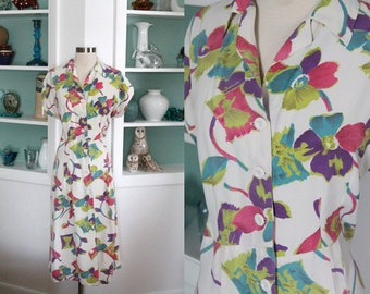 1940s Novelty Print Dress / Vintage 40s White Bright Pink Green Blue Floral Novelty Print Rayon Swing Volup Dress / Plus Size Day Dress - XL