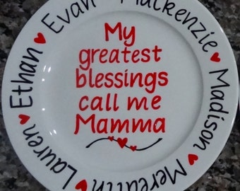 My Greatest Blessings Mother's Day Plate, Grandma Plate, Hand-painted and Personalized, 9 inch