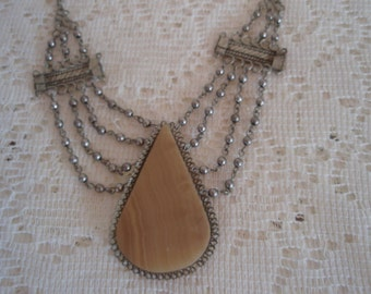 Natural Stone Necklace in Appalachian Silver neutral beige center gemstone