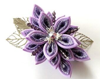 Kanzashi fabric flower hair clip. Orchid kanzashi. Orchid flower hair clip. Japanese hair piece. Oriental hair clip. Violet flower clip.