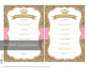 Wishes for Baby Card Crown and Gold Glitter - PDF file - Ready to print - DIY Print Your Own