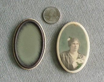 Pair of early celluloid pocket or purse mirrors