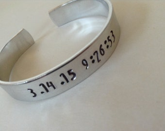 Pi Day of the century cuff bracelet... 3.14.15 9.26.53