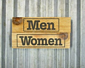 Men & Women Sign Set in Sepia -  Ready to Ship - Rustic Wooden Hand Painted Door Sign -  Reclaimed Wood Business Sign