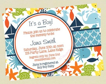 Boy Baby Shower Invitation, Under the Sea Baby Shower, Sea Creatures Baby Shower Invites, Ocean Theme, Nautical Printable File