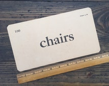 chairs • vintage flash card • Winston Reader word card • 1920's ephemera