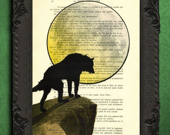 wolf art print howling wolf at the moon poster wolf silhouette illustration