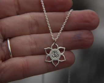 Lotus Om Necklace, Sterling Silver Lotus Om Charm, Yoga Jewelry