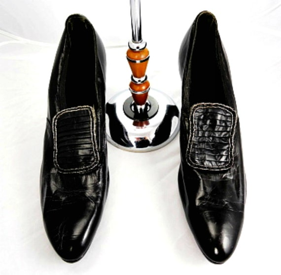 1920s flapper shoes beaded black leather evening