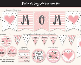 Mother's Day Party Printable, Pinks, Black, Floral, Includes Cupcake Toppers, Banner, Mini Bunting Banner, Treat Flags, Party Circles