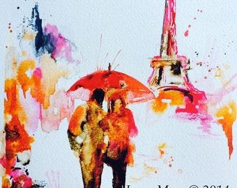 Paris in Bloom Art Print from  Watercolor Original Illustration - Travel Paris Red Umbrella Watercolor Painting