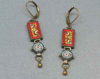 Vintage Victorian Style Micro Mosaic Drop Dangle Earrings