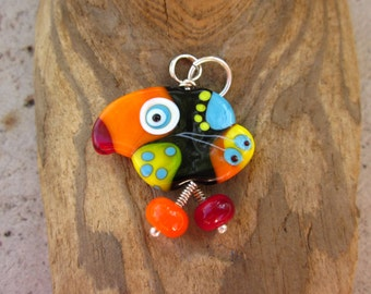 Polly - the  Lucky Bird Lampwork Glass Pendant Sterling Silver