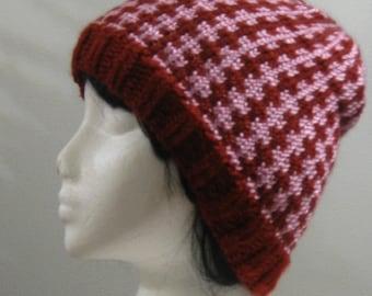 Cranberry Pink Hand Knit Beanie