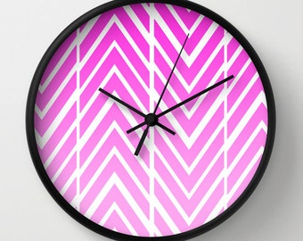 Wall Clock - Pink Arrows - ZigZag Pink and White - Choice of Frame Color - Made to Order