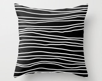 Throw Pillow - Pillow Cover Includes Pillow Insert - Black and White Striped - Sofa Pillow Cover- Decorative Bed Pillow- Made to Order