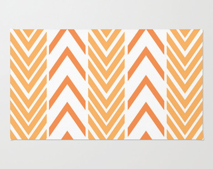 Floor Rug - Orange and White - Door Rug - Orange Arrows - Bathroom Rug  - Original Art - Throw Rug - Orange ZigZag - Made to Order