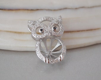 1 PC, Pendant Bail, 18K White Gold Vermeil, Pave CZ Owl, for Half-drilled Gemstone or Pearl, DIY Supplies, Jewelry Supplies