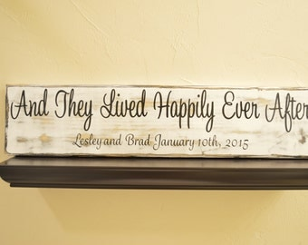And They Lived Happily Ever After Sign, Personalized Wedding Sign, Wedding Gift, Wedding Sign