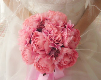 Pink Bouquet Life size  Silk Peony Bouquet For Brides - Wedding Bouquet
