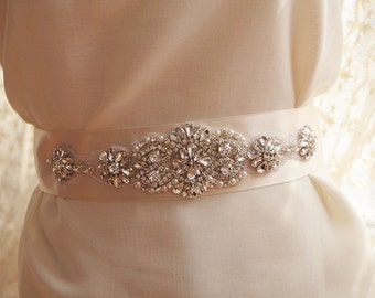crystal bead sash Applique, pearl beaded applique, Bridal sash Applique, rhinestone bead belt applique