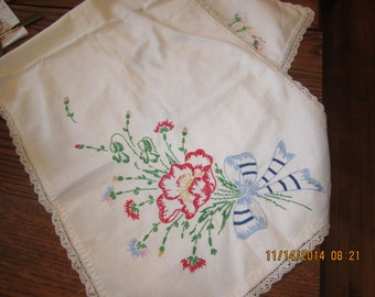 Hand Embroidered Table Runner Crochet Trim