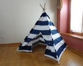 "Large Kids Teepee, Large Kids Play Tent, Navy and White Stripe Navy Childrens Teepee  6"" Wide Stripes Poles Include Ships from U.S."