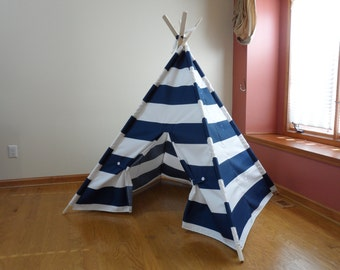 "Large Kids Teepee, Large Kids Play Tent, Navy and White Stripe Navy Childrens Teepee  6"" Wide Stripes Poles Included Ships from U.S."
