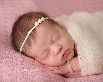 Baby Headbands Pearl Headbands Three pearl headband photography prop