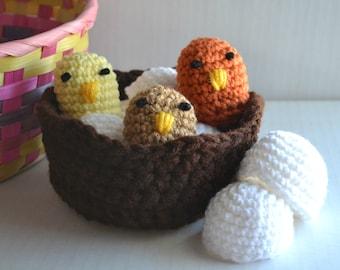 Easter Eggs, SET OF 3 Chicks, Spring Table Centerpiece, Handmade Toddler Toy, Crochet Birds Nest, Nesting Toys
