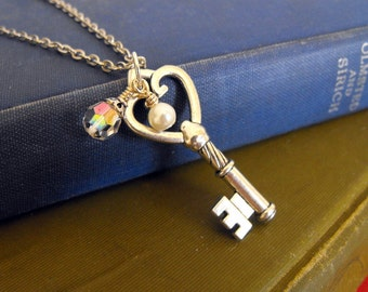 Skeleton Key Necklace, Silver Key Necklace with crystal & pearl