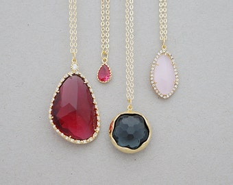 Ruby, Cerise, Smoky, Pink CZ Necklaces, Choose your length, Choose your stone, Necklace